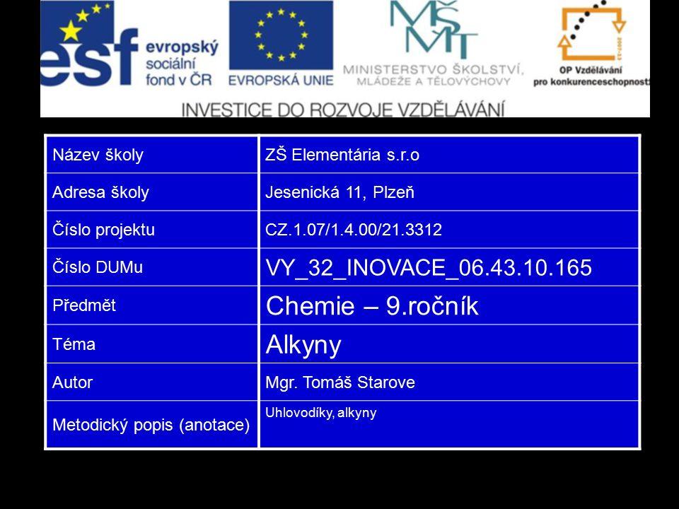 Název školyZŠ Elementária s.r.o Adresa školyJesenická 11, Plzeň Číslo projektuCZ.1.07/1.4.00/21.3312 Číslo DUMu VY_32_INOVACE_06.43.10.165 Předmět Che