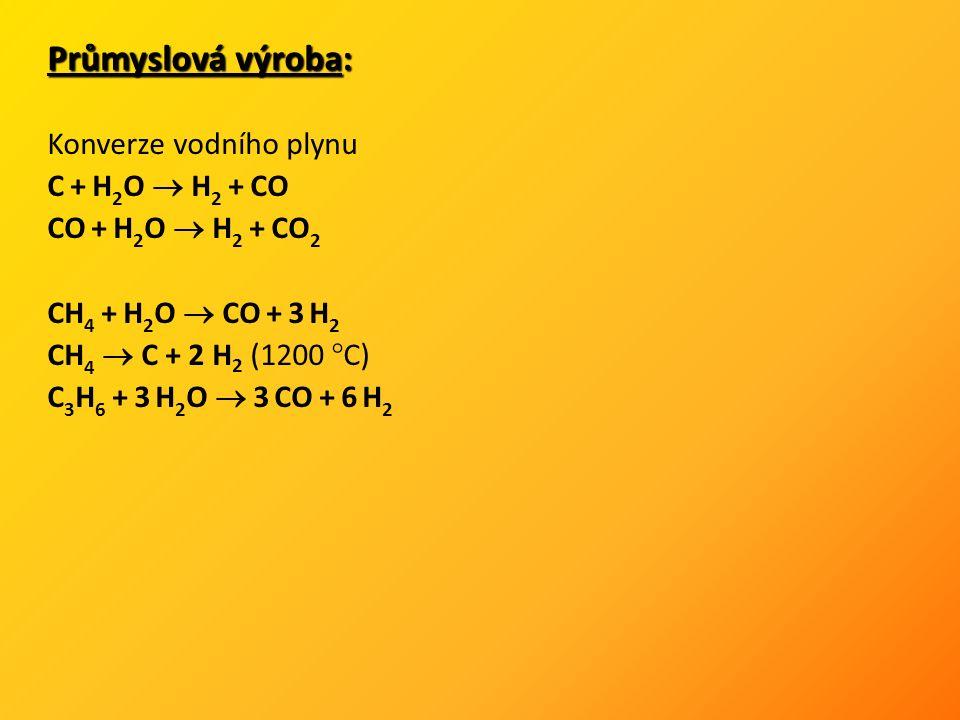 Průmyslová výroba: Konverze vodního plynu C + H 2 O  H 2 + CO CO + H 2 O  H 2 + CO 2 CH 4 + H 2 O  CO + 3 H 2 CH 4  C + 2 H 2 (1200 °C) C 3 H 6 + 3 H 2 O  3 CO + 6 H 2