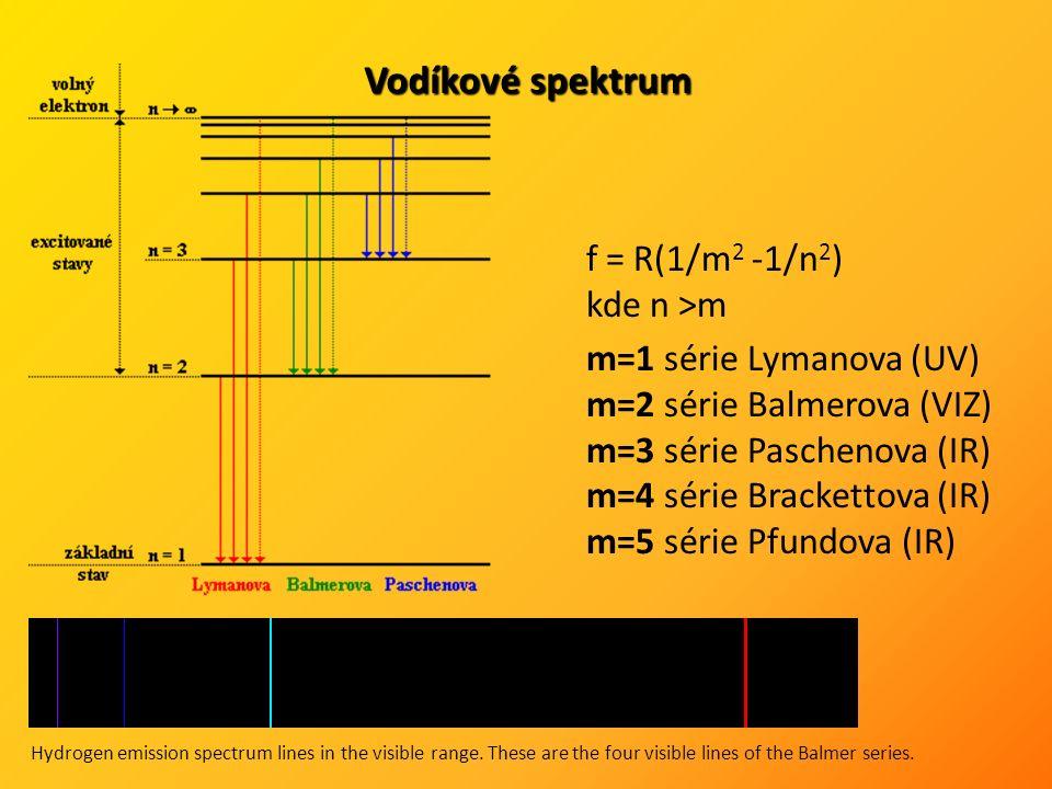 Vodíkové spektrum f = R(1/m 2 -1/n 2 ) kde n >m m=1 série Lymanova (UV) m=2 série Balmerova (VIZ) m=3 série Paschenova (IR) m=4 série Brackettova (IR) m=5 série Pfundova (IR) Hydrogen emission spectrum lines in the visible range.