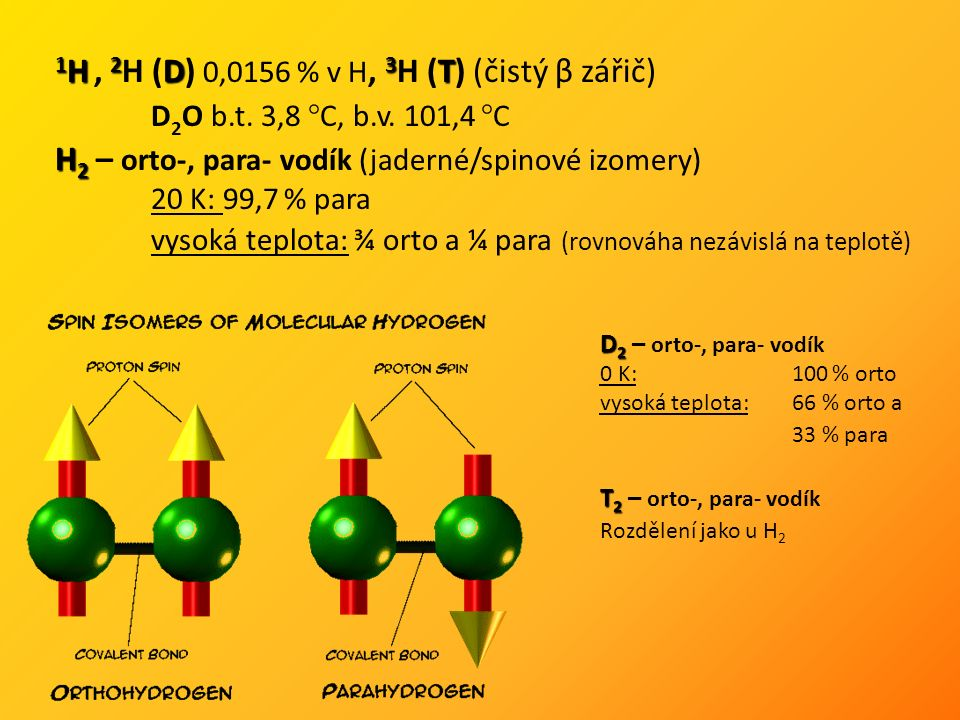1 H 2 D 3 T 1 H, 2 H (D) 0,0156 % v H, 3 H (T) (čistý β zářič) D 2 O b.t.