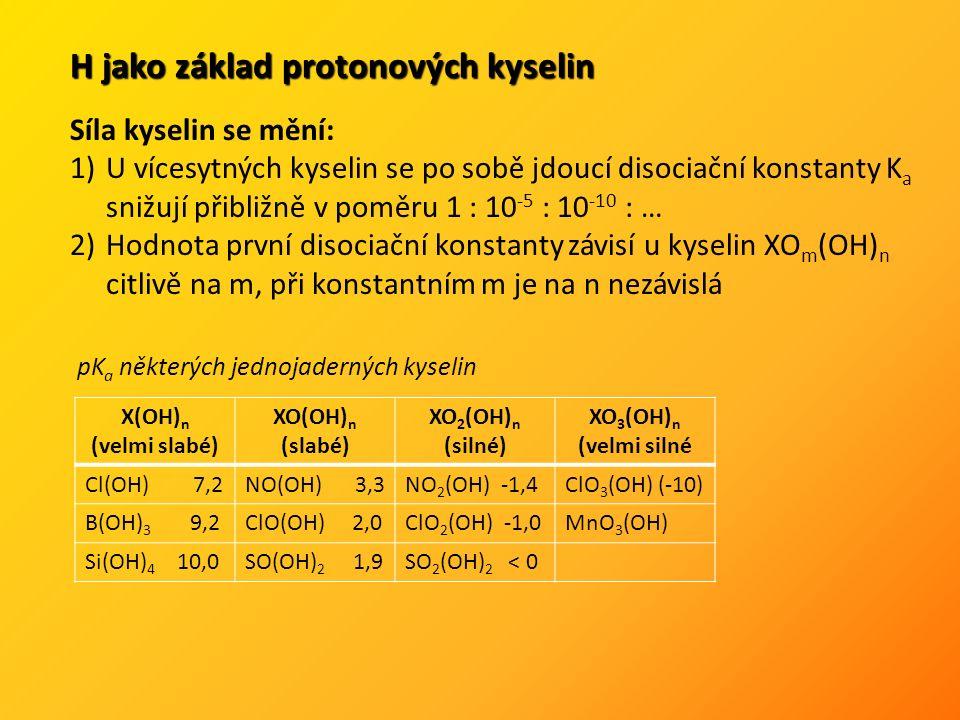 H jako základ protonových kyselin Síla kyselin se mění: 1)U vícesytných kyselin se po sobě jdoucí disociační konstanty K a snižují přibližně v poměru 1 : 10 -5 : 10 -10 : … 2)Hodnota první disociační konstanty závisí u kyselin XO m (OH) n citlivě na m, při konstantním m je na n nezávislá X(OH) n (velmi slabé) XO(OH) n (slabé) XO 2 (OH) n (silné) XO 3 (OH) n (velmi silné Cl(OH) 7,2NO(OH) 3,3NO 2 (OH) -1,4ClO 3 (OH) (-10) B(OH) 3 9,2ClO(OH) 2,0ClO 2 (OH) -1,0MnO 3 (OH) Si(OH) 4 10,0SO(OH) 2 1,9SO 2 (OH) 2 < 0 pK a některých jednojaderných kyselin