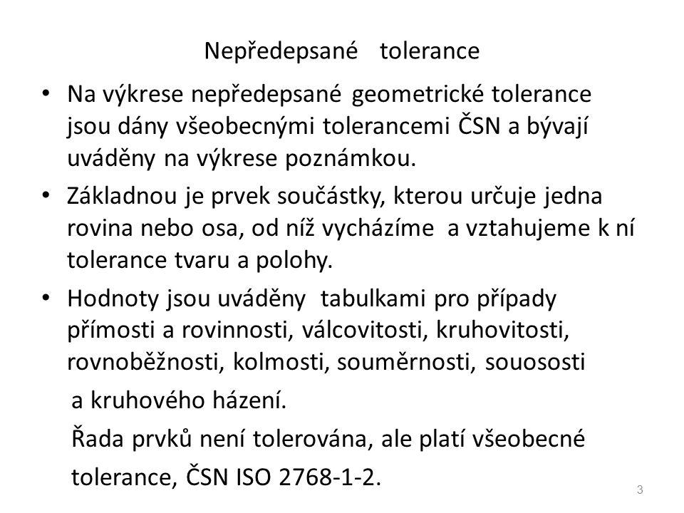 Nepředepsané tolerance Na výkrese nepředepsané geometrické tolerance jsou dány všeobecnými tolerancemi ČSN a bývají uváděny na výkrese poznámkou.