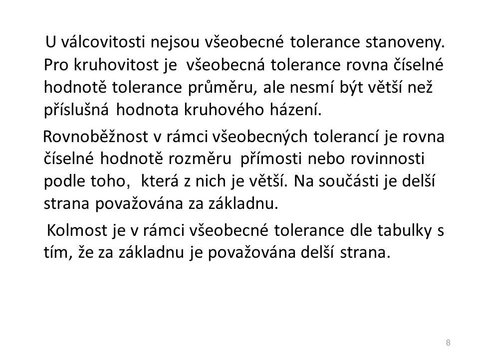 8 U válcovitosti nejsou všeobecné tolerance stanoveny.