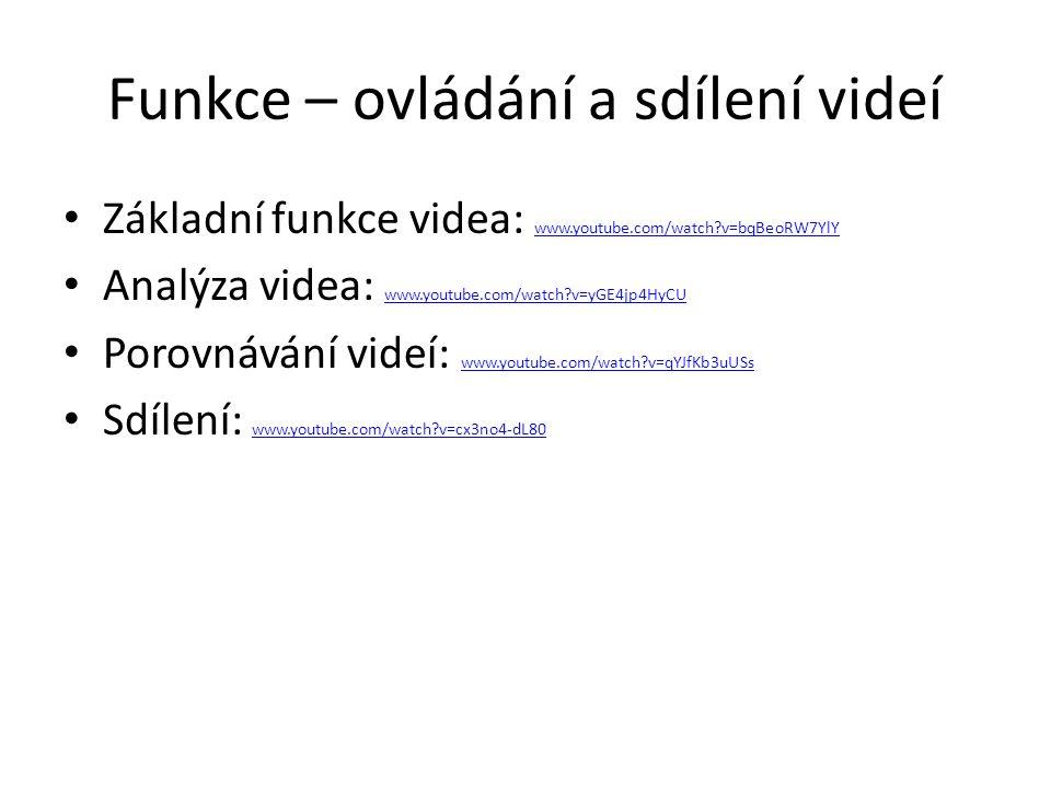 Funkce – ovládání a sdílení videí Základní funkce videa: www.youtube.com/watch?v=bqBeoRW7YlY www.youtube.com/watch?v=bqBeoRW7YlY Analýza videa: www.yo