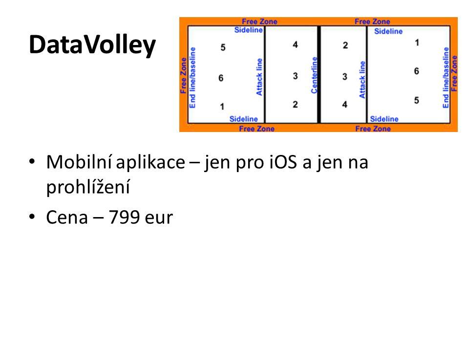 DataVolley Mobilní aplikace – jen pro iOS a jen na prohlížení Cena – 799 eur