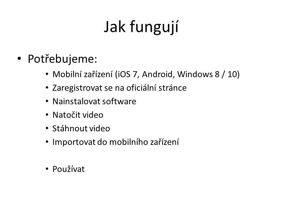 Jak fungují Potřebujeme: Mobilní zařízení (iOS 7, Android, Windows 8 / 10) Zaregistrovat se na oficiální stránce Nainstalovat software Natočit video S
