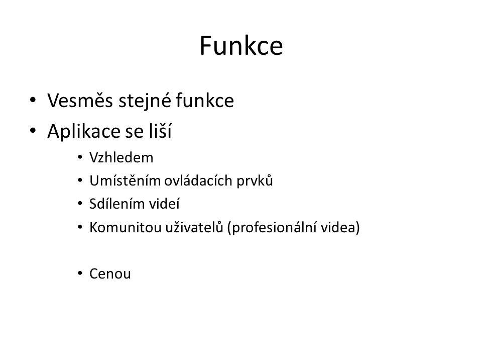 Funkce Vesměs stejné funkce Aplikace se liší Vzhledem Umístěním ovládacích prvků Sdílením videí Komunitou uživatelů (profesionální videa) Cenou