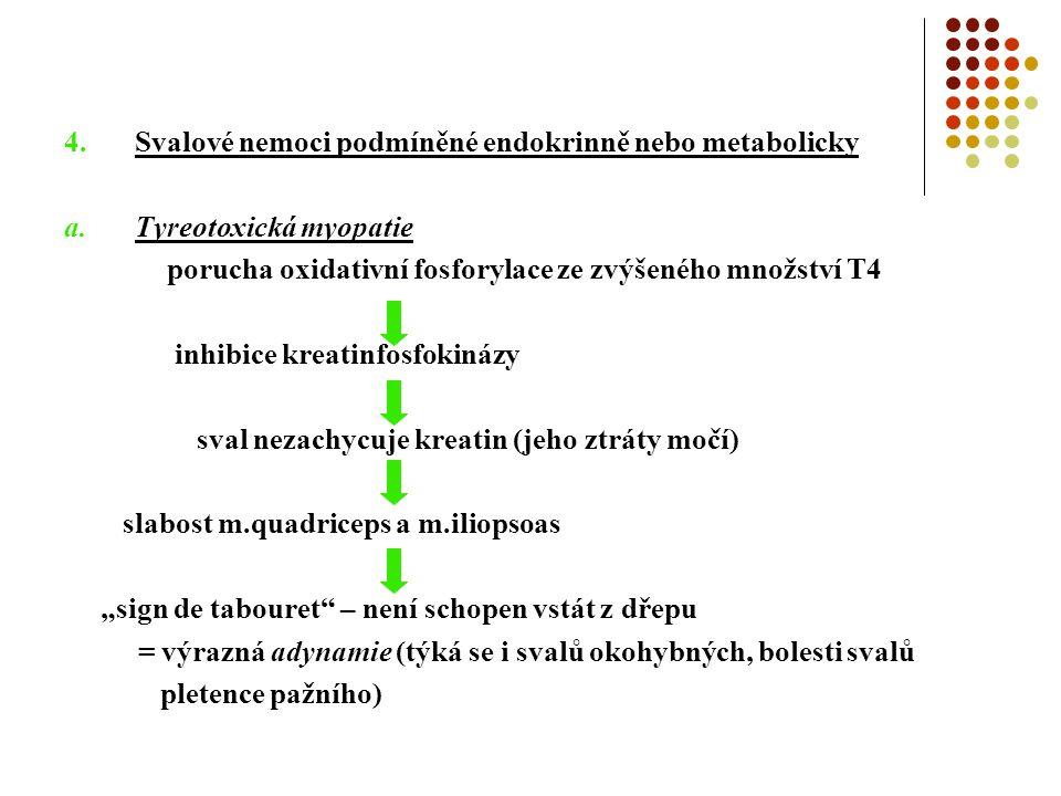 """4.Svalové nemoci podmíněné endokrinně nebo metabolicky a.Tyreotoxická myopatie porucha oxidativní fosforylace ze zvýšeného množství T4 inhibice kreatinfosfokinázy sval nezachycuje kreatin (jeho ztráty močí) slabost m.quadriceps a m.iliopsoas """"sign de tabouret – není schopen vstát z dřepu = výrazná adynamie (týká se i svalů okohybných, bolesti svalů pletence pažního)"""