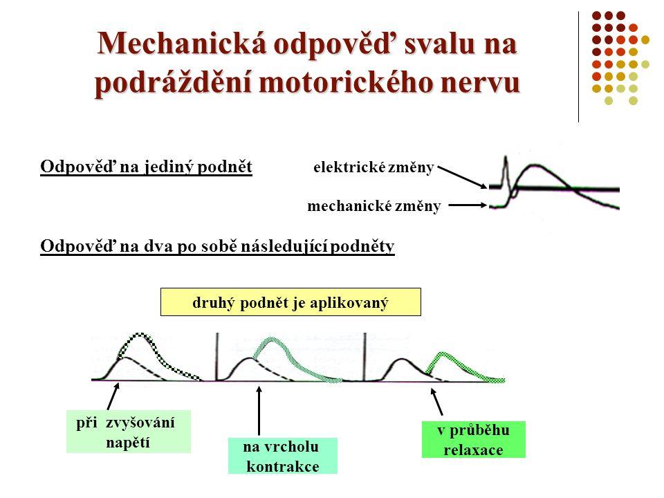 Mechanická odpověď svalu na podráždění motorického nervu Odpověď na jediný podnět Odpověď na dva po sobě následující podněty elektrické změny mechanické změny při zvyšování napětí na vrcholu kontrakce druhý podnět je aplikovaný v průběhu relaxace