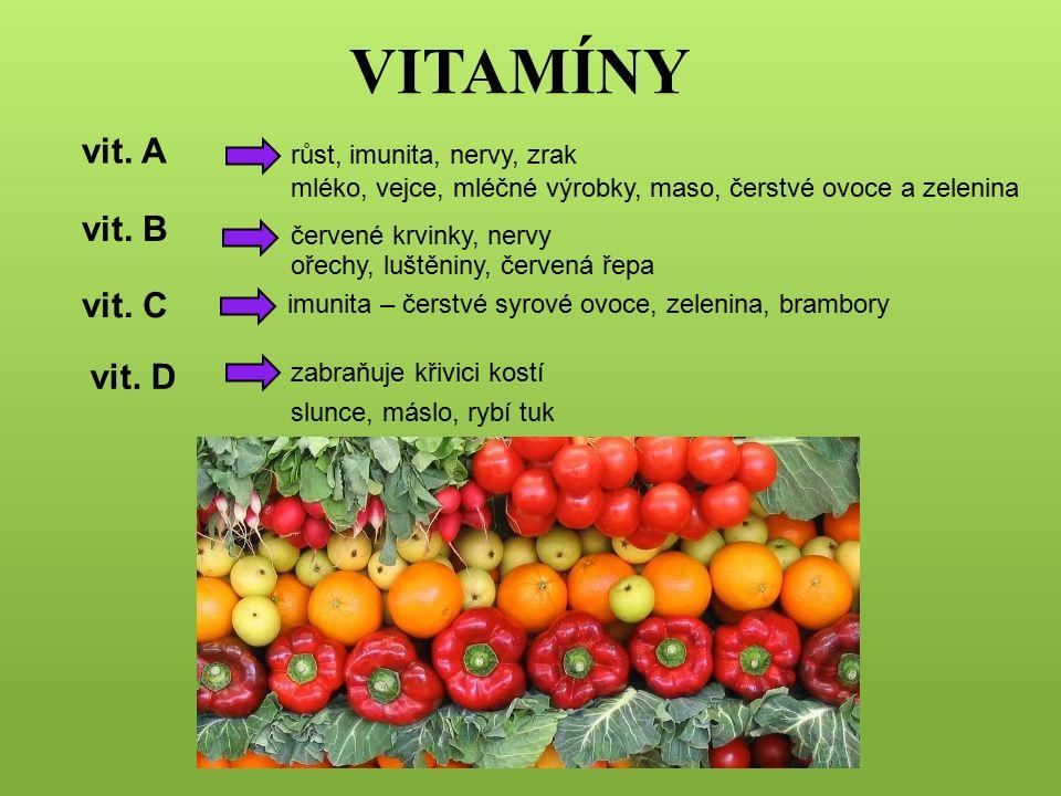 VITAMÍNY vit. A růst, imunita, nervy, zrak červené krvinky, nervy ořechy, luštěniny, červená řepa imunita – čerstvé syrové ovoce, zelenina, brambory v