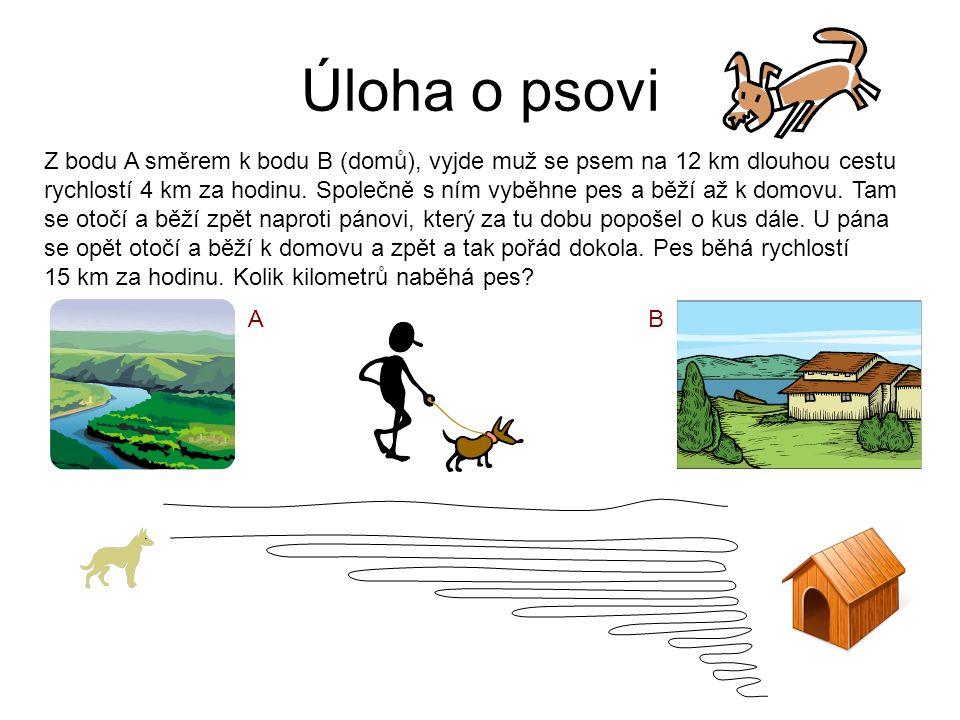 Úloha o psovi Z bodu A směrem k bodu B (domů), vyjde muž se psem na 12 km dlouhou cestu rychlostí 4 km za hodinu.