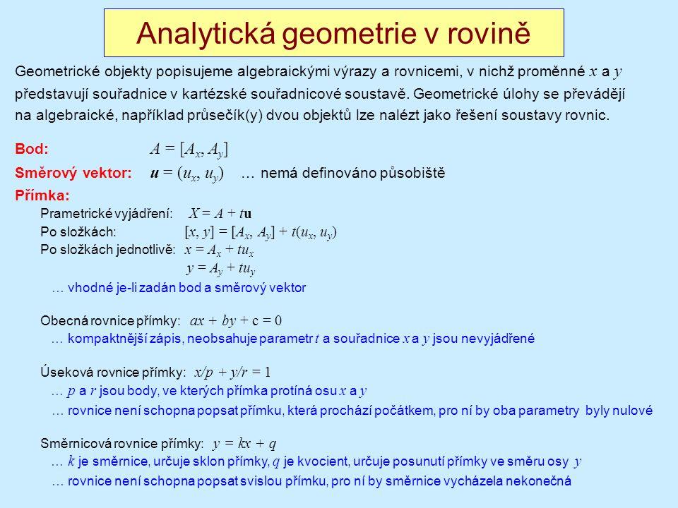 Analytická geometrie v rovině Geometrické objekty popisujeme algebraickými výrazy a rovnicemi, v nichž proměnné x a y představují souřadnice v kartézské souřadnicové soustavě.