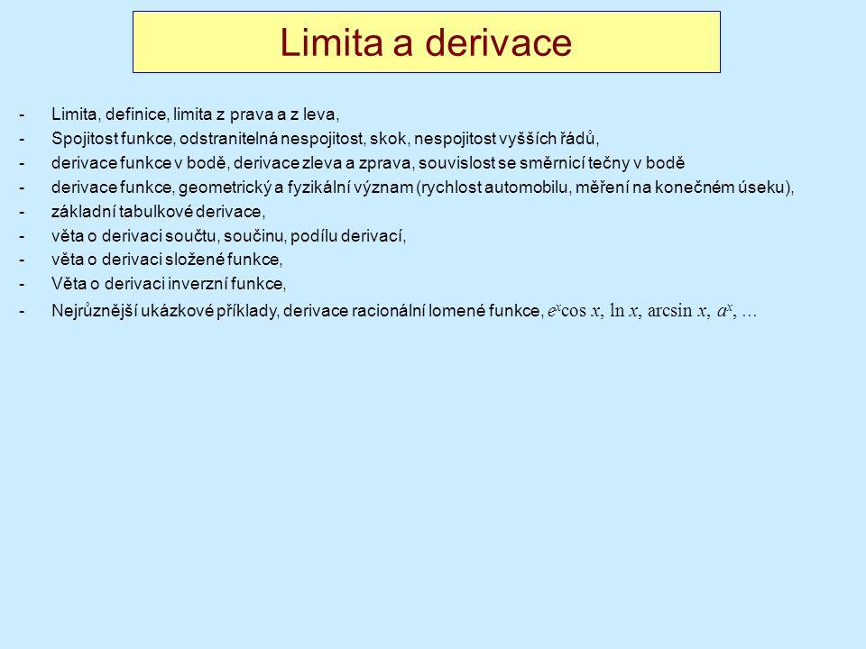 Limita a derivace -Limita, definice, limita z prava a z leva, -Spojitost funkce, odstranitelná nespojitost, skok, nespojitost vyšších řádů, -derivace funkce v bodě, derivace zleva a zprava, souvislost se směrnicí tečny v bodě -derivace funkce, geometrický a fyzikální význam (rychlost automobilu, měření na konečném úseku), -základní tabulkové derivace, -věta o derivaci součtu, součinu, podílu derivací, -věta o derivaci složené funkce, -Věta o derivaci inverzní funkce, -Nejrůznější ukázkové příklady, derivace racionální lomené funkce, e x cos x, ln x, arcsin x, a x, …