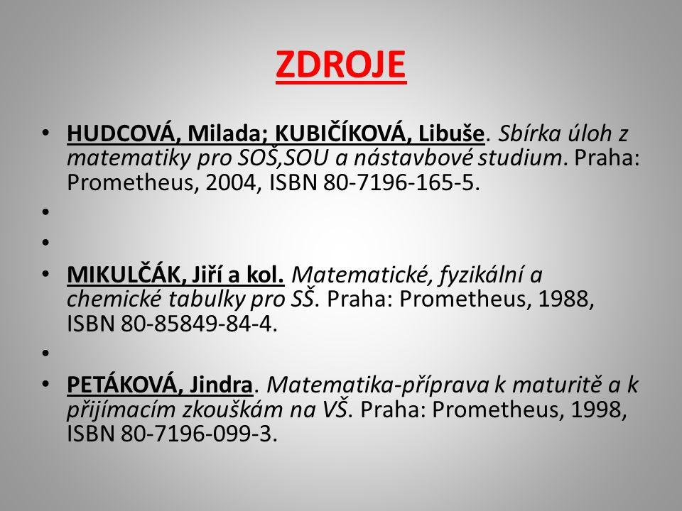 ZDROJE HUDCOVÁ, Milada; KUBIČÍKOVÁ, Libuše.