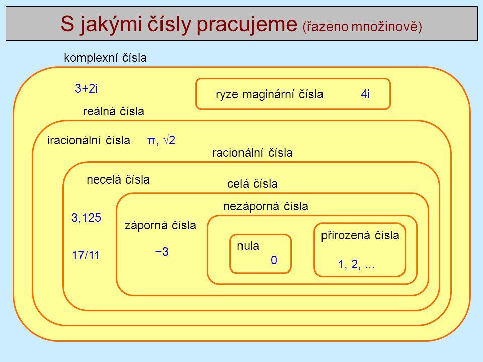 Mocnina y = x n … celočíselná mocnina … = x.x…x n krát pronásobené x evidentně platí x m x n = x m+n a platí také (x m ) n = x m.n (díky prvnímu vztahu můžeme zavést zápornou mocninu, zvolíme-li n = −m a dostaneme x m x −m = x m−m = x 0 = 1 a tedy x −m = 1/x m )...