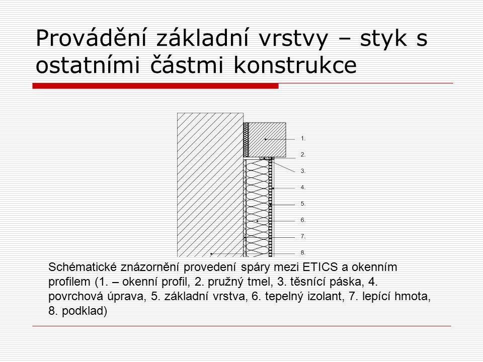 Provádění základní vrstvy – styk s ostatními částmi konstrukce Schématické znázornění provedení spáry mezi ETICS a okenním profilem (1.