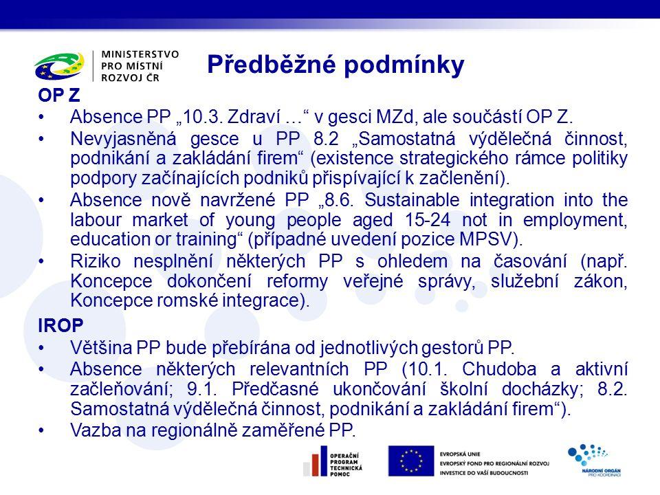 """OP Z Absence PP """"10.3. Zdraví … v gesci MZd, ale součástí OP Z."""