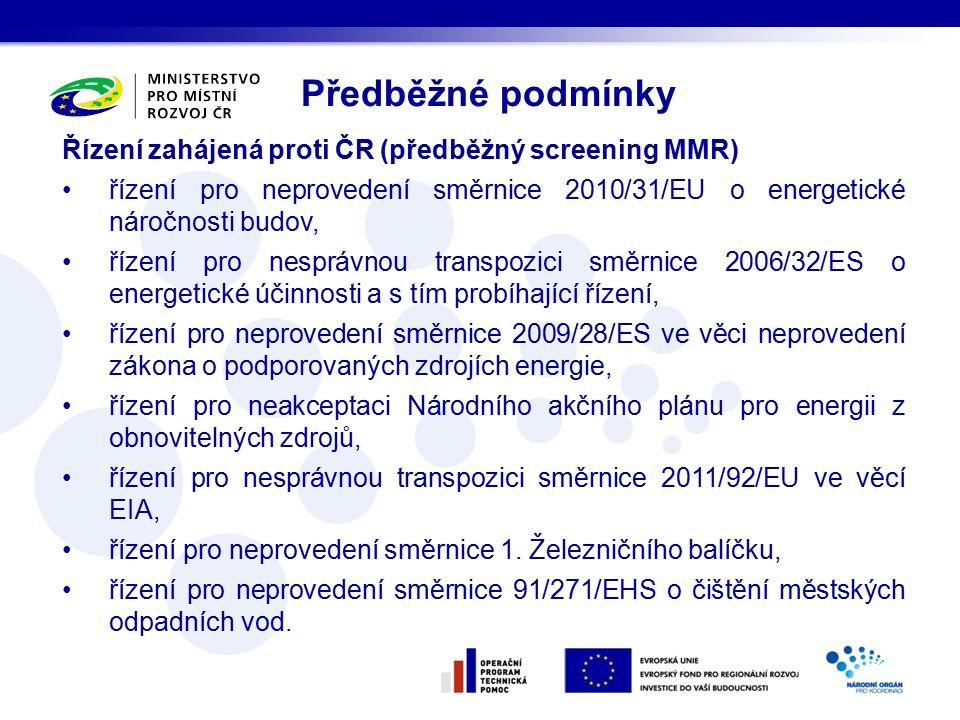 Řízení zahájená proti ČR (předběžný screening MMR) řízení pro neprovedení směrnice 2010/31/EU o energetické náročnosti budov, řízení pro nesprávnou transpozici směrnice 2006/32/ES o energetické účinnosti a s tím probíhající řízení, řízení pro neprovedení směrnice 2009/28/ES ve věci neprovedení zákona o podporovaných zdrojích energie, řízení pro neakceptaci Národního akčního plánu pro energii z obnovitelných zdrojů, řízení pro nesprávnou transpozici směrnice 2011/92/EU ve věcí EIA, řízení pro neprovedení směrnice 1.