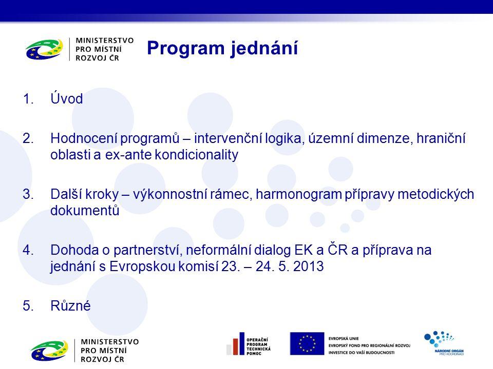 1.Úvod 2.Hodnocení programů – intervenční logika, územní dimenze, hraniční oblasti a ex-ante kondicionality 3.Další kroky – výkonnostní rámec, harmonogram přípravy metodických dokumentů 4.Dohoda o partnerství, neformální dialog EK a ČR a příprava na jednání s Evropskou komisí 23.