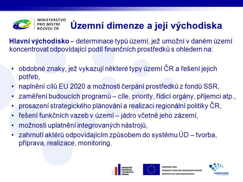 Územní dimenze a její východiska Hlavní východisko – determinace typů území, jež umožní v daném území koncentrovat odpovídající podíl finančních prostředků s ohledem na: obdobné znaky, jež vykazují některé typy území ČR a řešení jejich potřeb, naplnění cílů EU 2020 a možnosti čerpání prostředků z fondů SSR, zaměření budoucích programů – cíle, priority, řídicí orgány, příjemci atp., prosazení strategického plánování a realizaci regionální politiky ČR, řešení funkčních vazeb v území – jádro včetně jeho zázemí, možnosti uplatnění integrovaných nástrojů, zahrnutí aktérů odpovídajícím způsobem do systému ÚD – tvorba, příprava, realizace, monitoring.