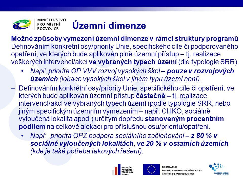 Územní dimenze Možné způsoby vymezení územní dimenze v rámci struktury programů Definováním konkrétní osy/priority Unie, specifického cíle či podporovaného opatření, ve kterých bude aplikován plně územní přístup – tj.