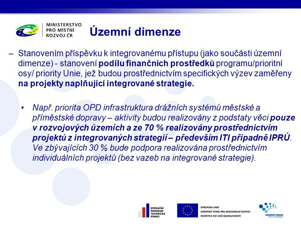 –Stanovením příspěvku k integrovanému přístupu (jako součásti územní dimenze) - stanovení podílu finančních prostředků programu/prioritní osy/ priority Unie, jež budou prostřednictvím specifických výzev zaměřeny na projekty naplňující integrované strategie.