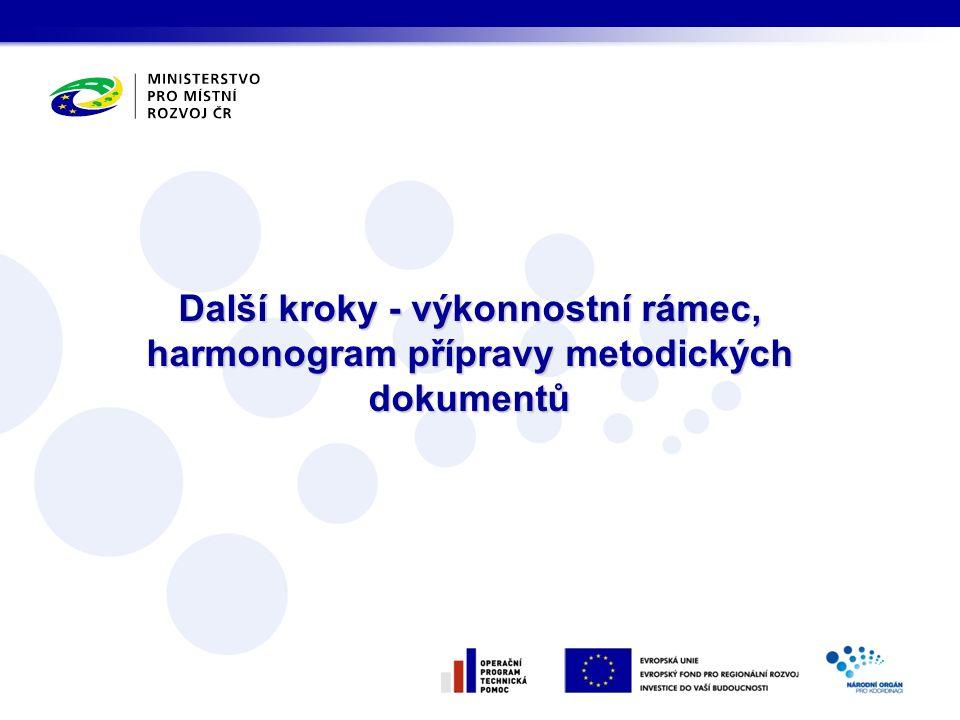 Další kroky - výkonnostní rámec, harmonogram přípravy metodických dokumentů