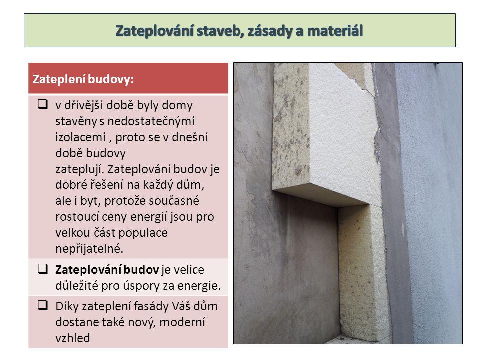 Zateplení budovy:  v dřívější době byly domy stavěny s nedostatečnými izolacemi, proto se v dnešní době budovy zateplují. Zateplování budov je dobré