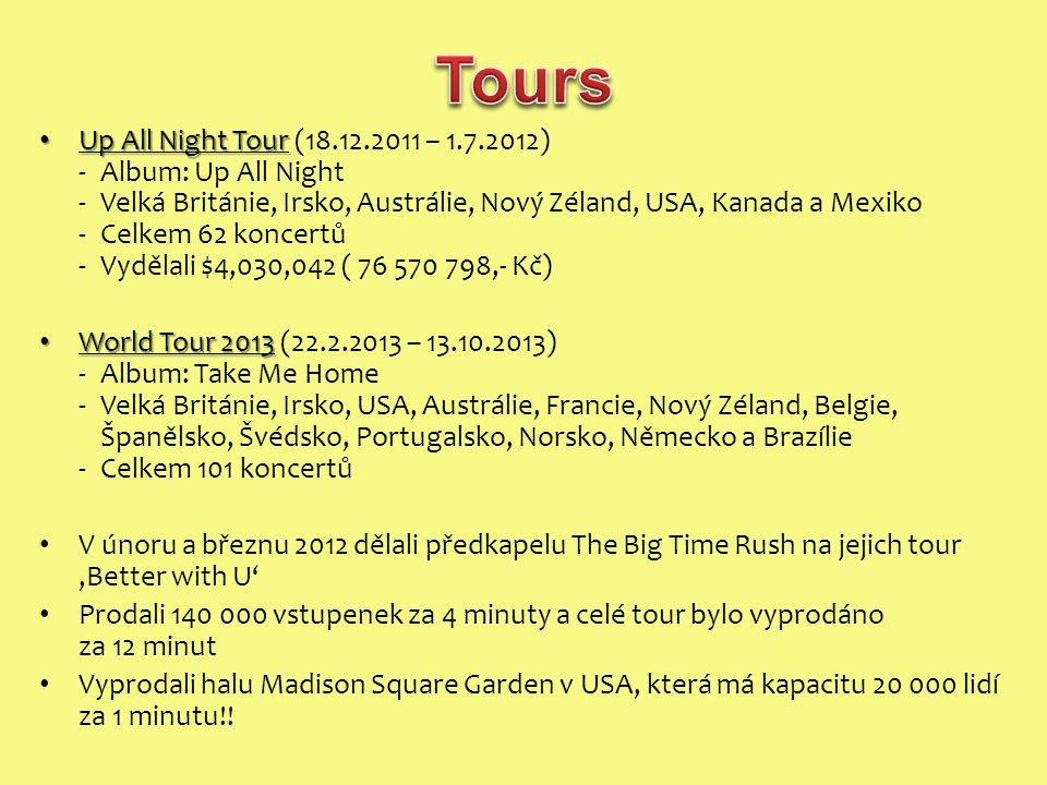 Up All Night Tour Up All Night Tour (18.12.2011 – 1.7.2012) -Album: Up All Night -Velká Británie, Irsko, Austrálie, Nový Zéland, USA, Kanada a Mexiko -Celkem 62 koncertů -Vydělali $4,030,042 ( 76 570 798,- Kč) World Tour 2013 World Tour 2013 (22.2.2013 – 13.10.2013) -Album: Take Me Home -Velká Británie, Irsko, USA, Austrálie, Francie, Nový Zéland, Belgie, Španělsko, Švédsko, Portugalsko, Norsko, Německo a Brazílie -Celkem 101 koncertů V únoru a březnu 2012 dělali předkapelu The Big Time Rush na jejich tour 'Better with U' Prodali 140 000 vstupenek za 4 minuty a celé tour bylo vyprodáno za 12 minut Vyprodali halu Madison Square Garden v USA, která má kapacitu 20 000 lidí za 1 minutu!!