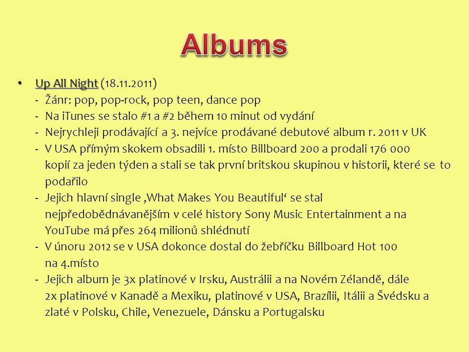 Up All Night Up All Night (18.11.2011) -Žánr: pop, pop-rock, pop teen, dance pop - Na iTunes se stalo #1 a #2 během 10 minut od vydání -Nejrychleji prodávající a 3.