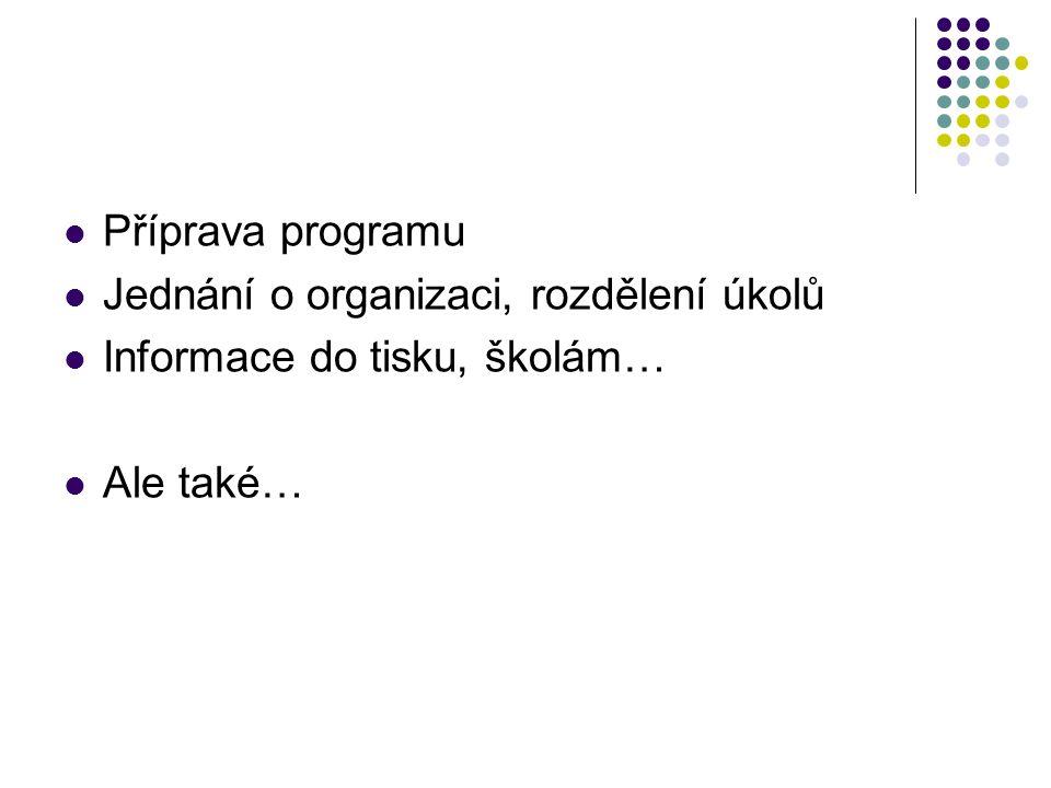 Příprava programu Jednání o organizaci, rozdělení úkolů Informace do tisku, školám… Ale také…