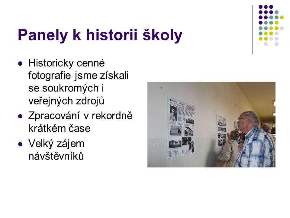 Panely k historii školy Historicky cenné fotografie jsme získali se soukromých i veřejných zdrojů Zpracování v rekordně krátkém čase Velký zájem návštěvníků