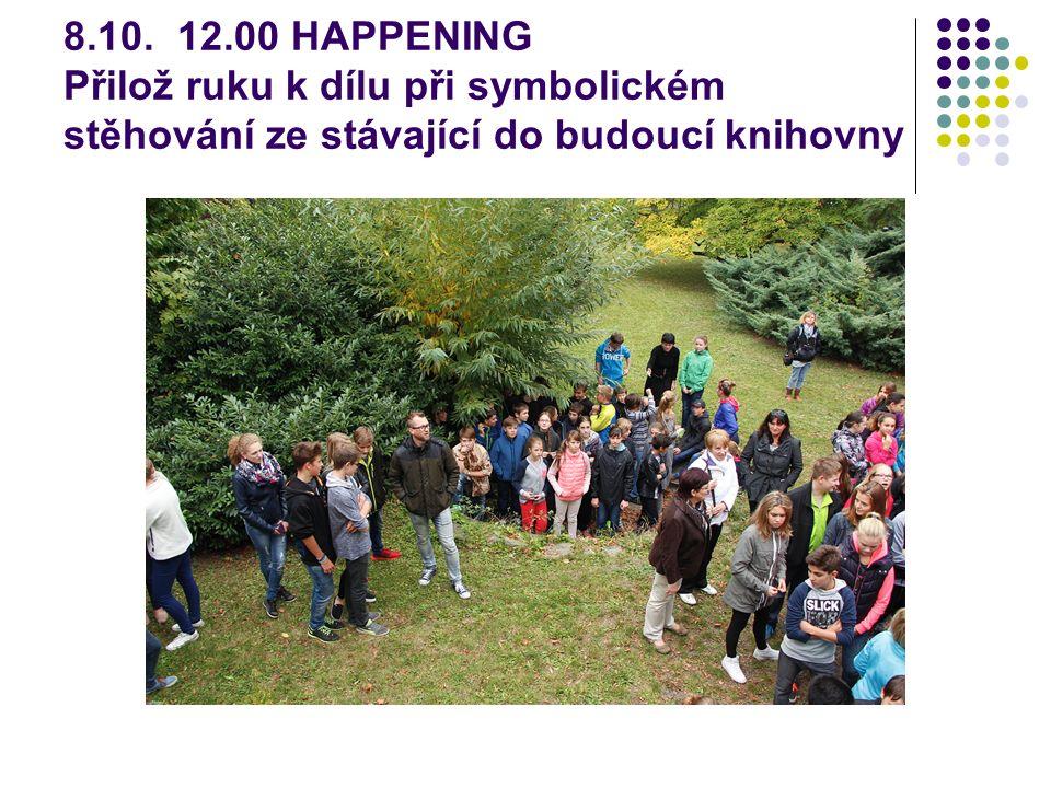 8.10. 12.00 HAPPENING Přilož ruku k dílu při symbolickém stěhování ze stávající do budoucí knihovny