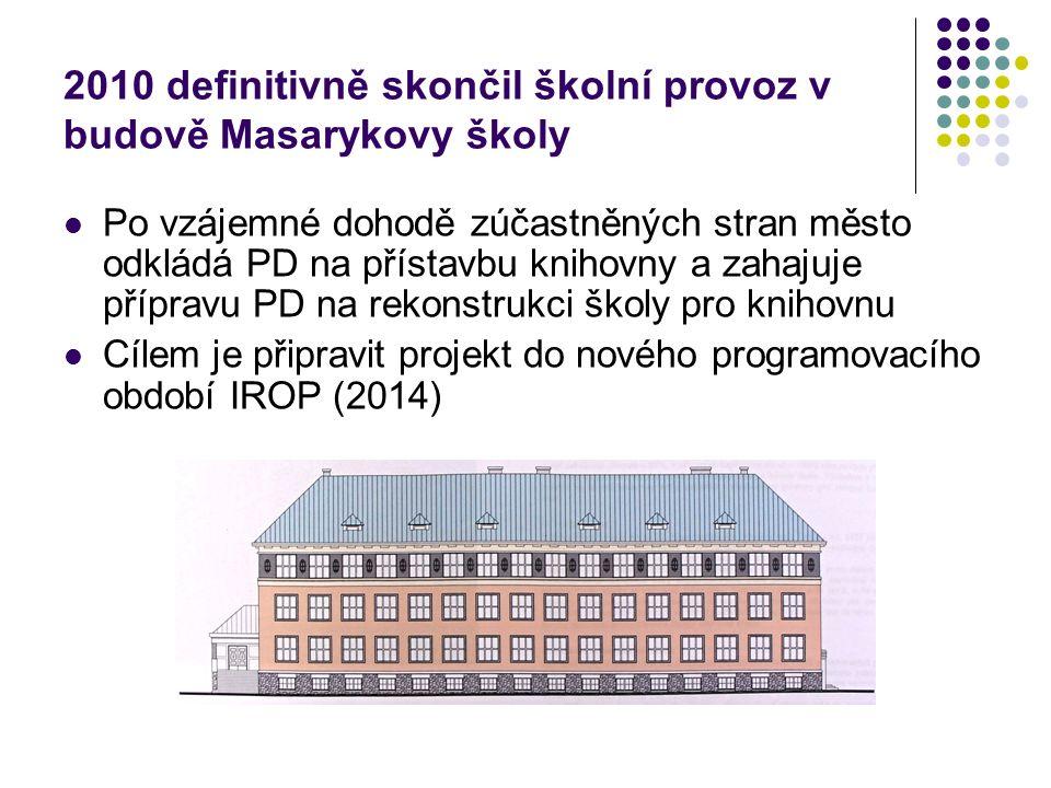 2010 definitivně skončil školní provoz v budově Masarykovy školy Po vzájemné dohodě zúčastněných stran město odkládá PD na přístavbu knihovny a zahajuje přípravu PD na rekonstrukci školy pro knihovnu Cílem je připravit projekt do nového programovacího období IROP (2014)