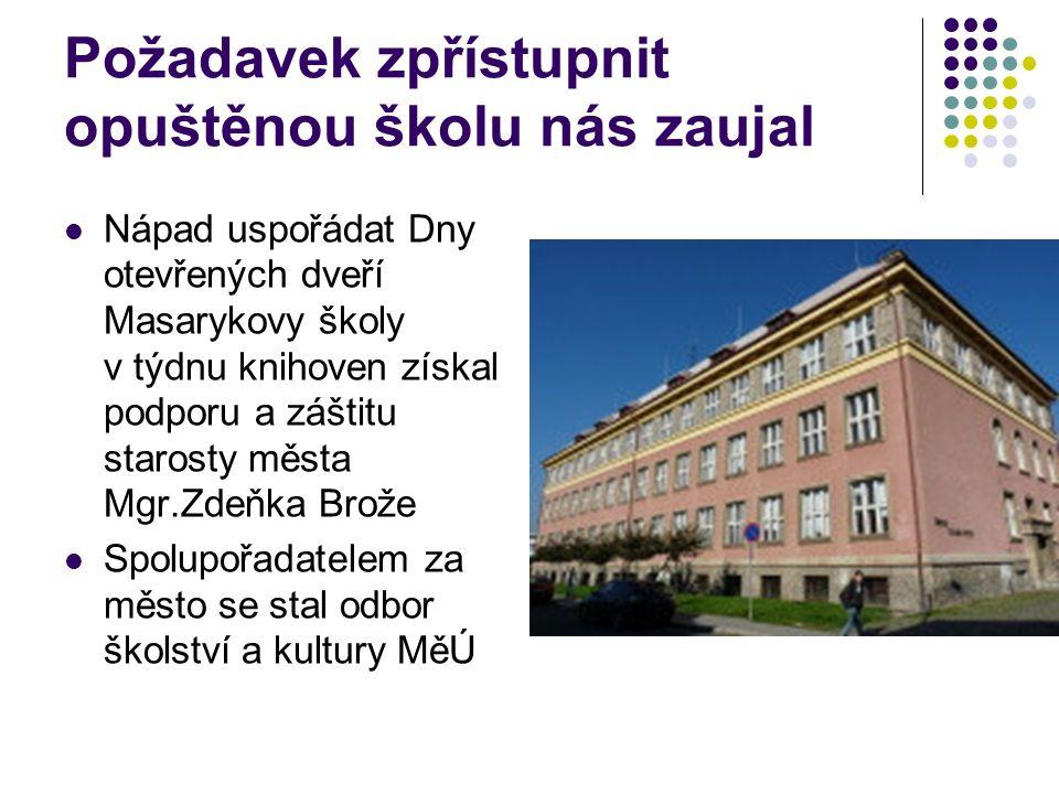 Stavební povolení k rekonstrukci školy na knihovnu bylo vydáno 12.8.2015 9.9.2018 uplyne 90 let od postavení první české šumperské školy Jak výročí oslavíme ???