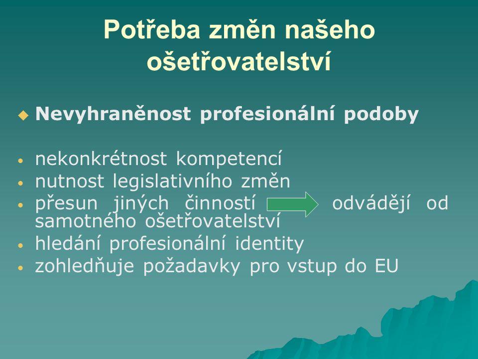 Potřeba změn našeho ošetřovatelství   Nevyhraněnost profesionální podoby nekonkrétnost kompetencí nutnost legislativního změn přesun jiných činností odvádějí od samotného ošetřovatelství hledání profesionální identity zohledňuje požadavky pro vstup do EU