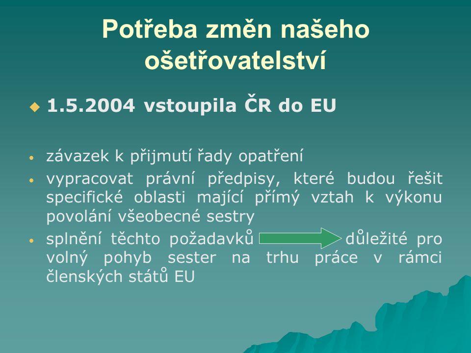 Potřeba změn našeho ošetřovatelství   1.5.2004 vstoupila ČR do EU závazek k přijmutí řady opatření vypracovat právní předpisy, které budou řešit specifické oblasti mající přímý vztah k výkonu povolání všeobecné sestry splnění těchto požadavků důležité pro volný pohyb sester na trhu práce v rámci členských států EU