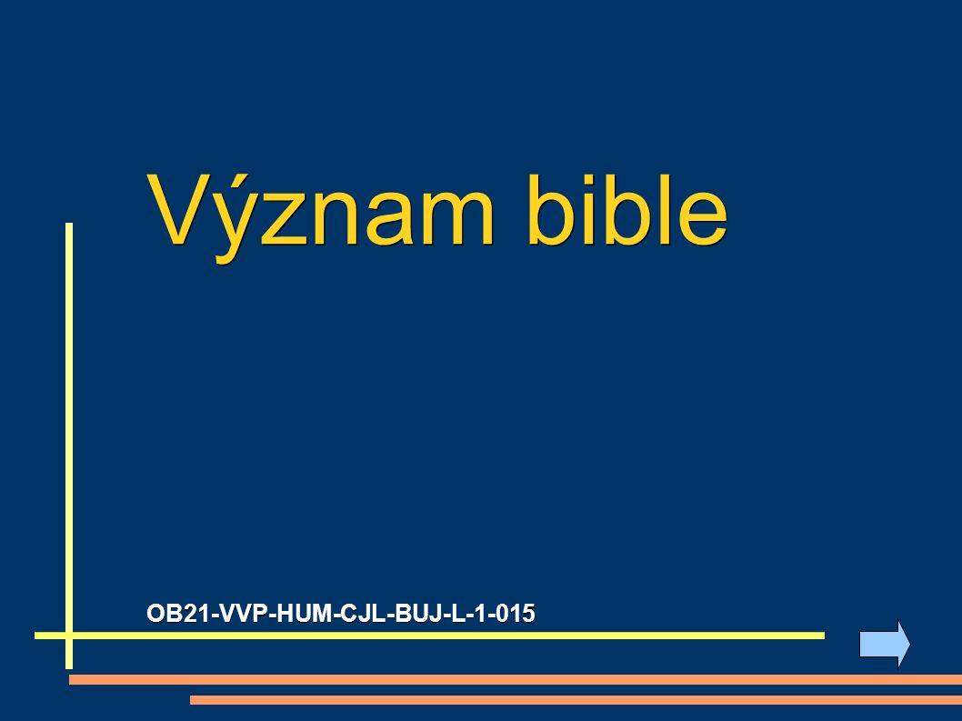 1) úkol: Vytvoř myšlenkovou mapu (co si vybavíš, když se řekne bible):