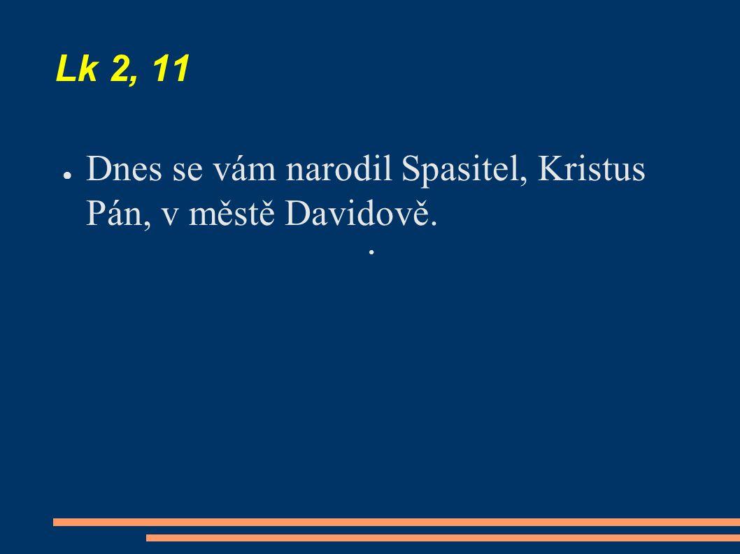 Lk 2, 11 ● Dnes se vám narodil Spasitel, Kristus Pán, v městě Davidově.