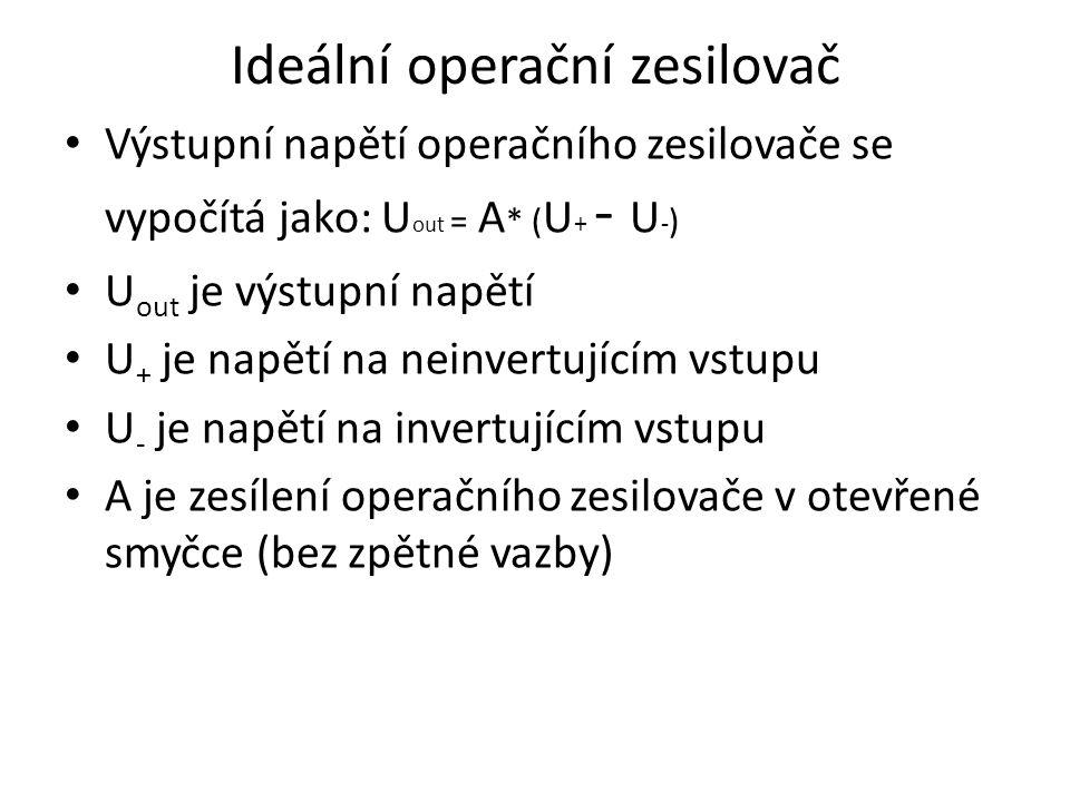 Ideální operační zesilovač Výstupní napětí operačního zesilovače se vypočítá jako: U out = A * ( U + - U - ) U out je výstupní napětí U + je napětí na neinvertujícím vstupu U - je napětí na invertujícím vstupu A je zesílení operačního zesilovače v otevřené smyčce (bez zpětné vazby)