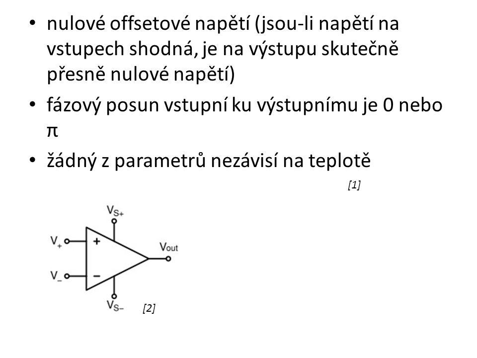 nulové offsetové napětí (jsou-li napětí na vstupech shodná, je na výstupu skutečně přesně nulové napětí) fázový posun vstupní ku výstupnímu je 0 nebo π žádný z parametrů nezávisí na teplotě [1] [2]