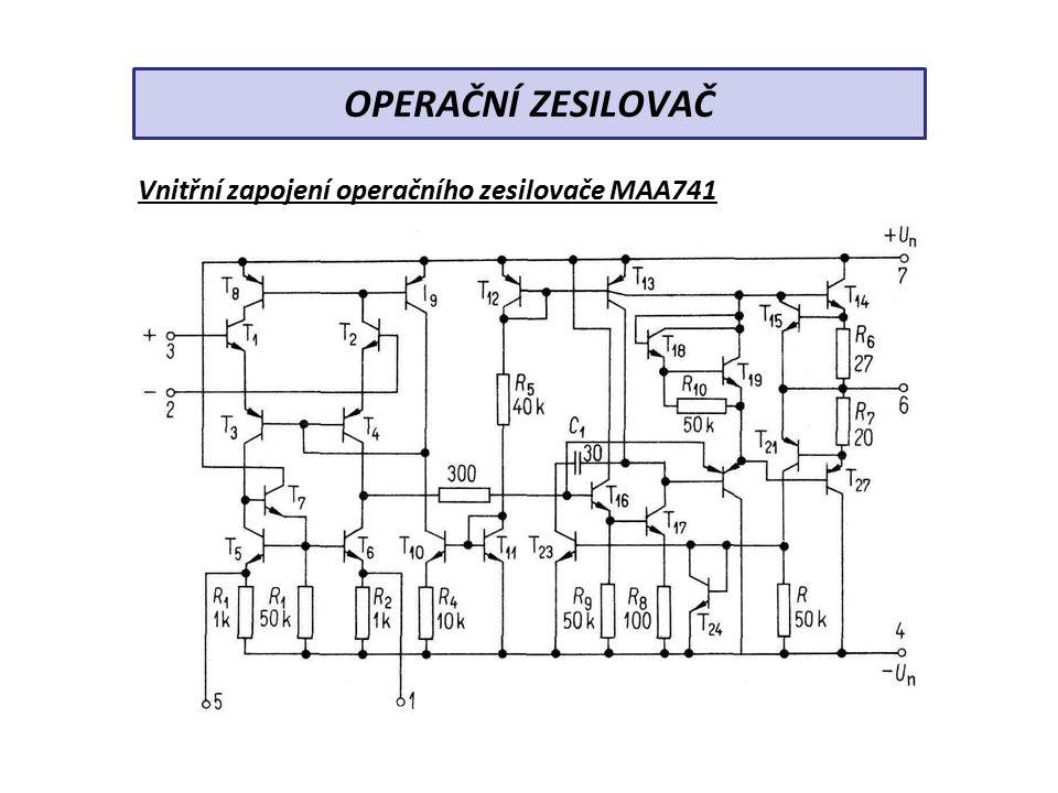 ZÁKLADNÍ ZAPOJENÍ OZ a) invertující zesilovač –zesilované napětí se přivádí na invertující vstup –rezistorem R 2 je zavedena zpětná vazba (záporná) –výstupní napětí má opačnou polaritu než napětí vstupní –zesílení zesilovače je dáno poměrem zapojených rezistorů OPERAČNÍ ZESILOVAČ