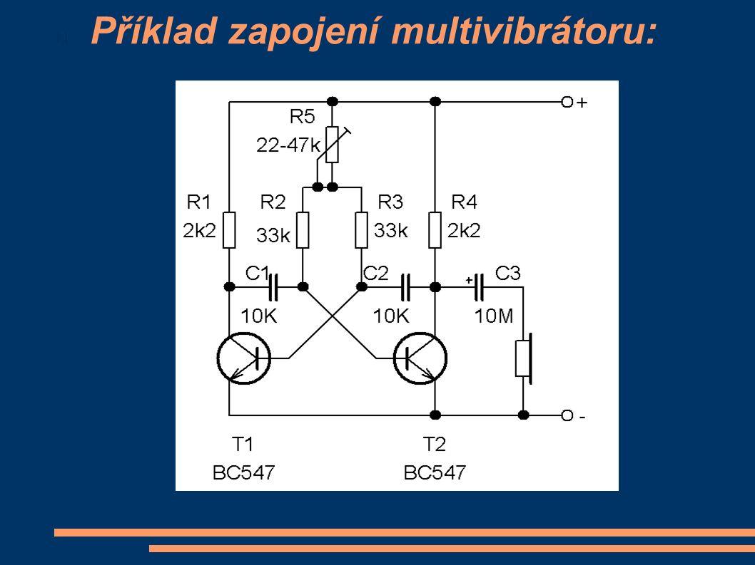 Příklad zapojení multivibrátoru: