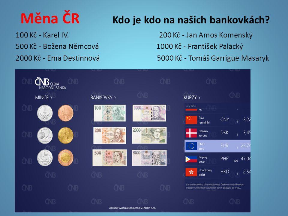 Měna ČR Kdo je kdo na našich bankovkách? 100 Kč - Karel IV. 200 Kč - Jan Amos Komenský 500 Kč - Božena Němcová 1000 Kč - František Palacký 2000 Kč - E