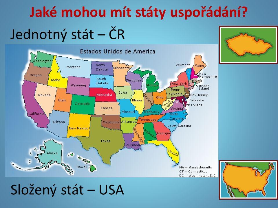 Jaké mohou mít státy uspořádání? Jednotný stát – ČR Složený stát – USA