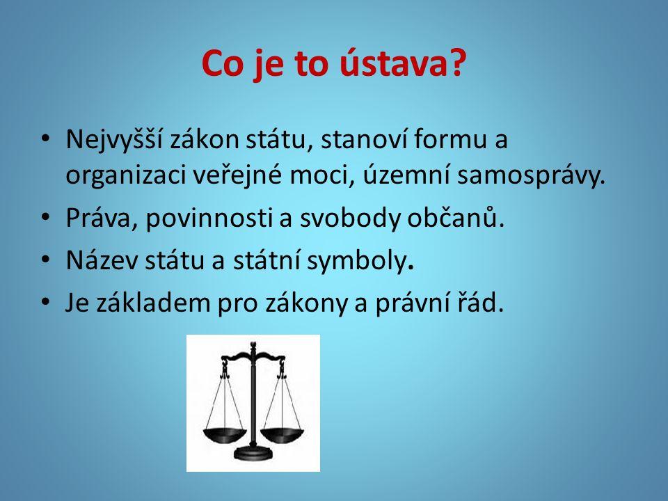 Co je to ústava? Nejvyšší zákon státu, stanoví formu a organizaci veřejné moci, územní samosprávy. Práva, povinnosti a svobody občanů. Název státu a s