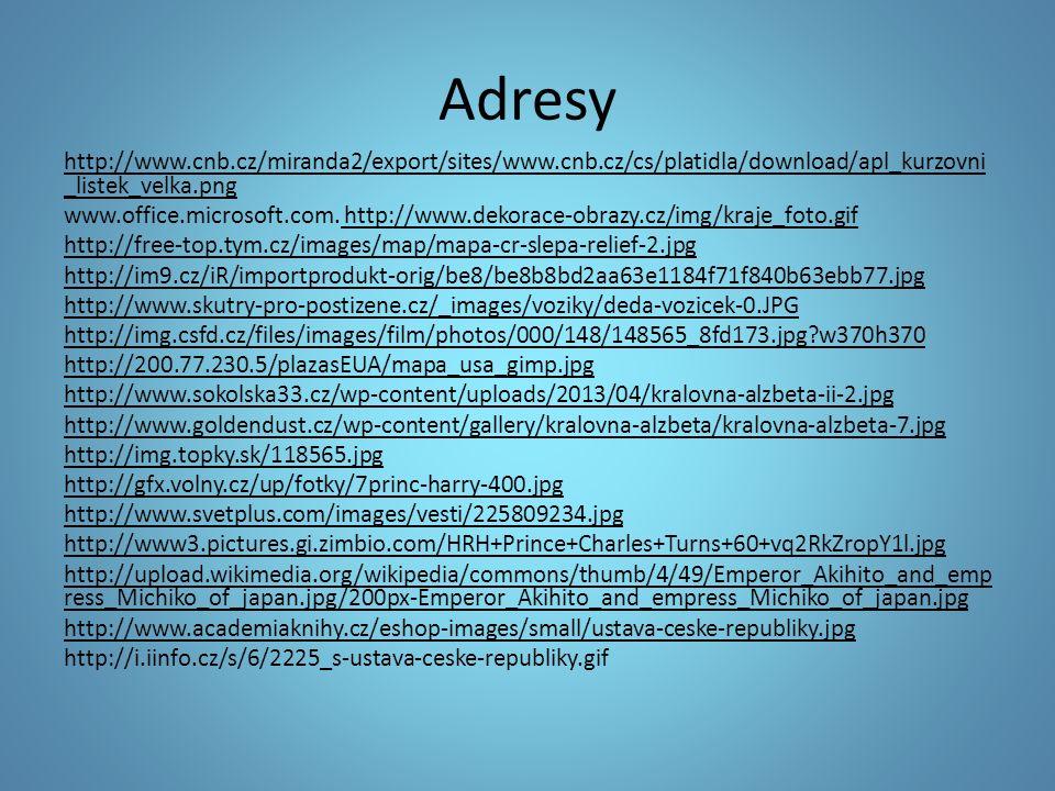 Adresy http://www.cnb.cz/miranda2/export/sites/www.cnb.cz/cs/platidla/download/apl_kurzovni _listek_velka.png www.office.microsoft.com. http://www.dek