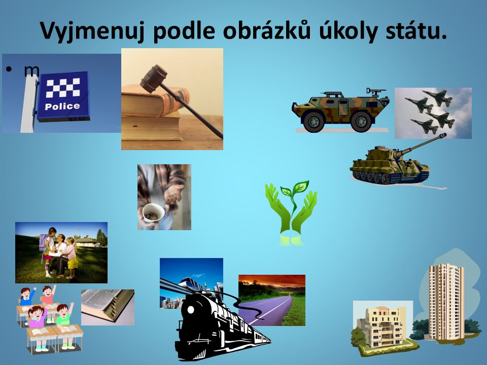 Vyjmenuj podle obrázků úkoly státu. m
