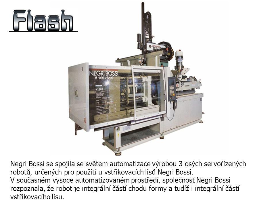Negri Bossi se spojila se světem automatizace výrobou 3 osých servořízených robotů, určených pro použití u vstřikovacích lisů Negri Bossi.