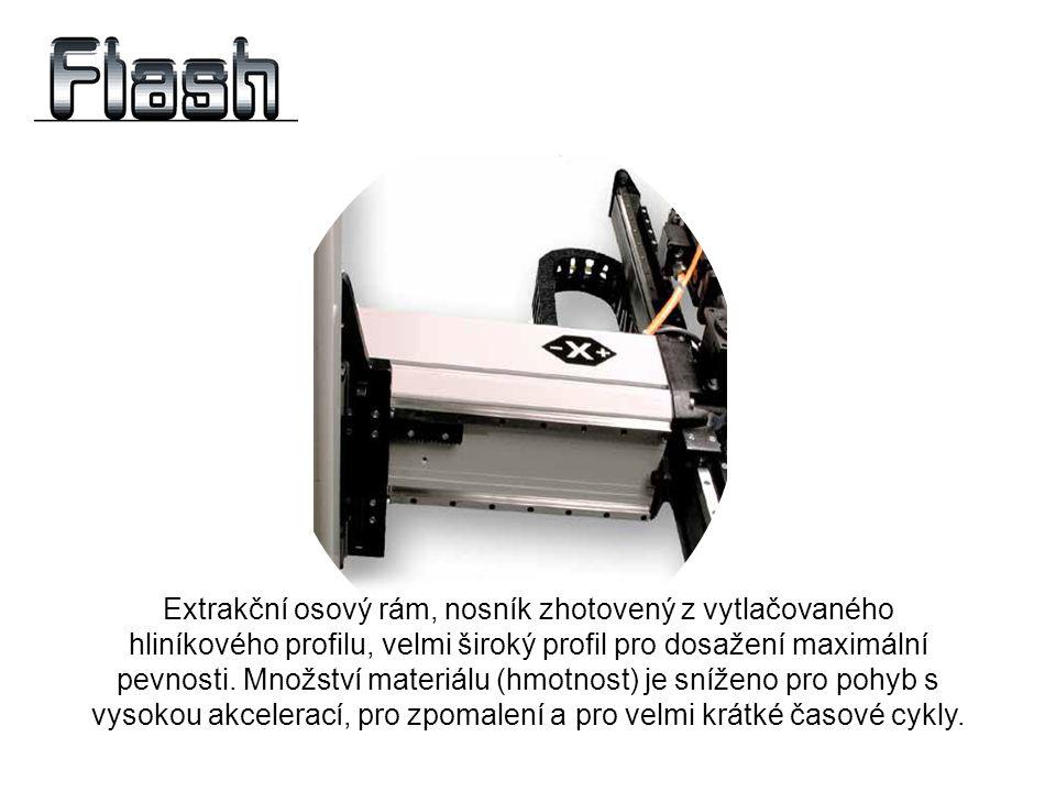 Extrakční osový rám, nosník zhotovený z vytlačovaného hliníkového profilu, velmi široký profil pro dosažení maximální pevnosti. Množství materiálu (hm
